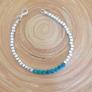 Jewelry - Turquoise silver cube bracelet